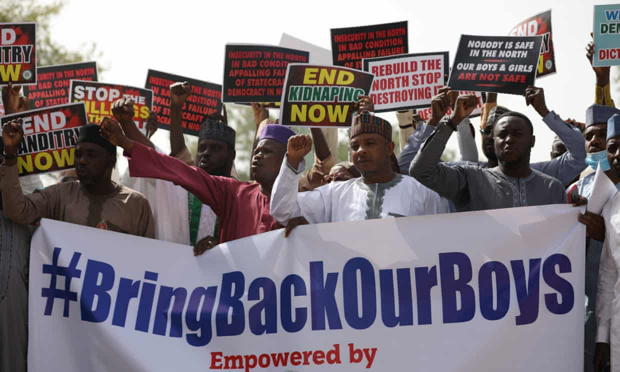 A rally in December in protest against the kidnapping of schoolchildren in the north-western state of Katsina. Photograph: Kola Sulaimon/AFP/Getty Images