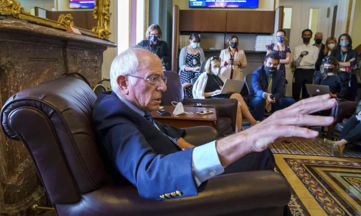 Sanders in Congress last week. He said in the op-ed: 'We need every Democratic senator to vote yes. We now have only 48. Two Democratic senators remain in opposition, including senator Joe Manchin.' Photograph: J Scott Applewhite/AP