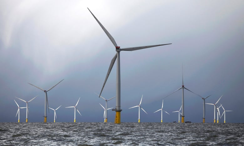 London Array occupies 40 square miles and comprises 175 wind turbines. Photograph: Bloomberg via Getty Images