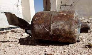 A photograph, supplied by Darayya civil defense of an unexploded barrel bomb which is claimed to contain napalm gel