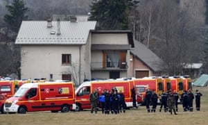 French emergency services workers gather in Seyne, south-eastern France, near the site of the crash.