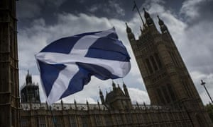 The flag of St Andrew flies outside the Houses of Parliament.