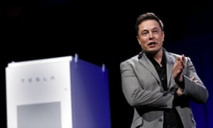Elon Musk unveils his low-cost battery during an event in California on Thursday evening.