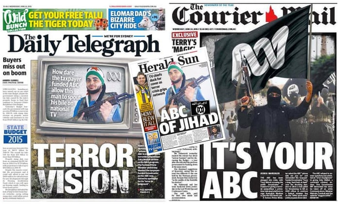 The front pages of The Daily Telegraph in Australia, The Herald Sun in Australia, and The Courier Mail in Australia on 24 June 2015. The controversial front pages were in response to Prime Minister Tony Abbott's statement the previous day that ABC (the TV broadcasting channel) was effectively siding with ISIS by allowing Zaky Mallah to ask questions during Q&A.