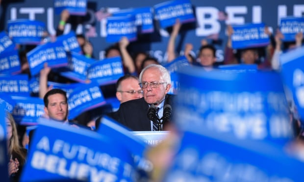 The Democratic party's nomination will ultimately be decided by more than 4,700 delegates – and Bernie Sanders is losing the superdelegate race. Photograph: Xinhua/Rex/Shutterstock