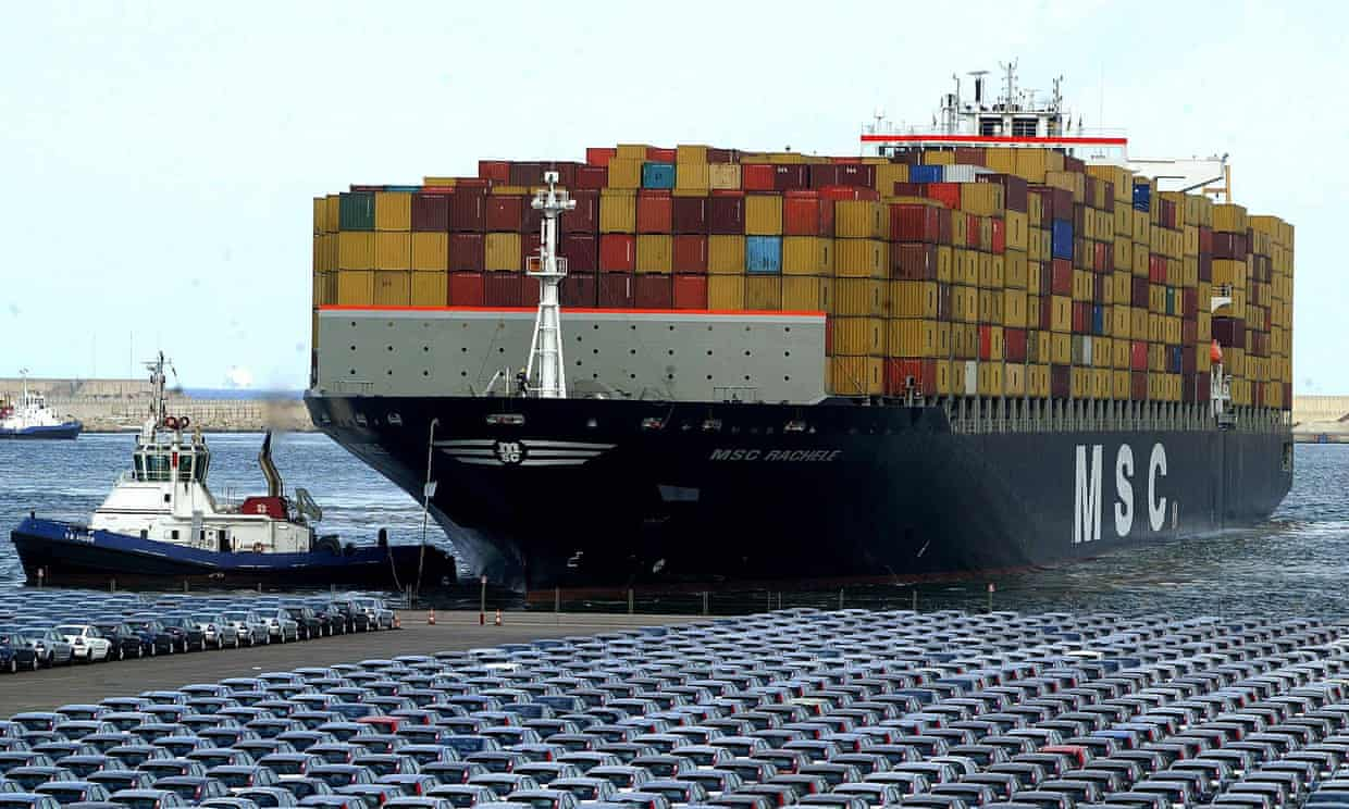 File picture from 2005 of one of MSC's container ships. An NGO calculates the shipping operator has joined coal plants and Ryanair in the EU's list of top 10 carbon emitters. Photograph: Jose Jordan/AFP/Getty Images