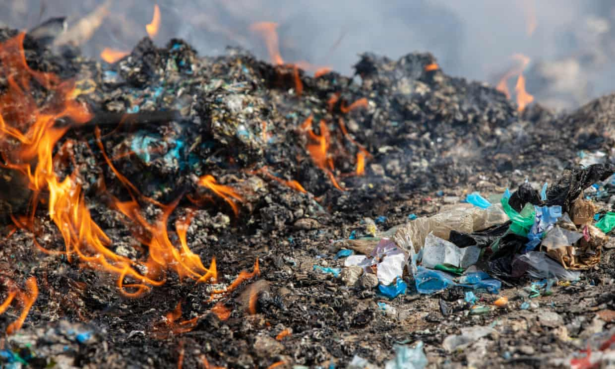 Plastic waste found dumped and burned in the Kuyumcular area of Turkey included packaging from UK supermarkets and global food and drinks brands. Photograph: Caner Ozkan/Greenpeace
