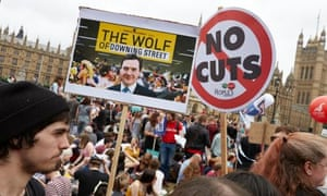 Protesters at Parliament Square, London, demostrating against the government's austerity programme on Saturday.