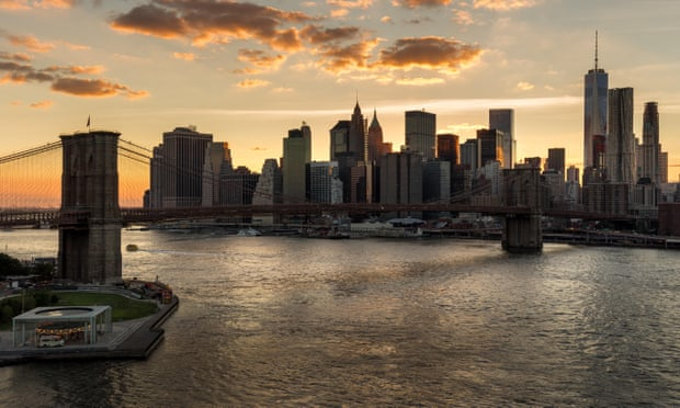 The New York financial district at sunset. In the US, firms are reducing investment – normally the sign of a looming recession. Photograph: Alamy