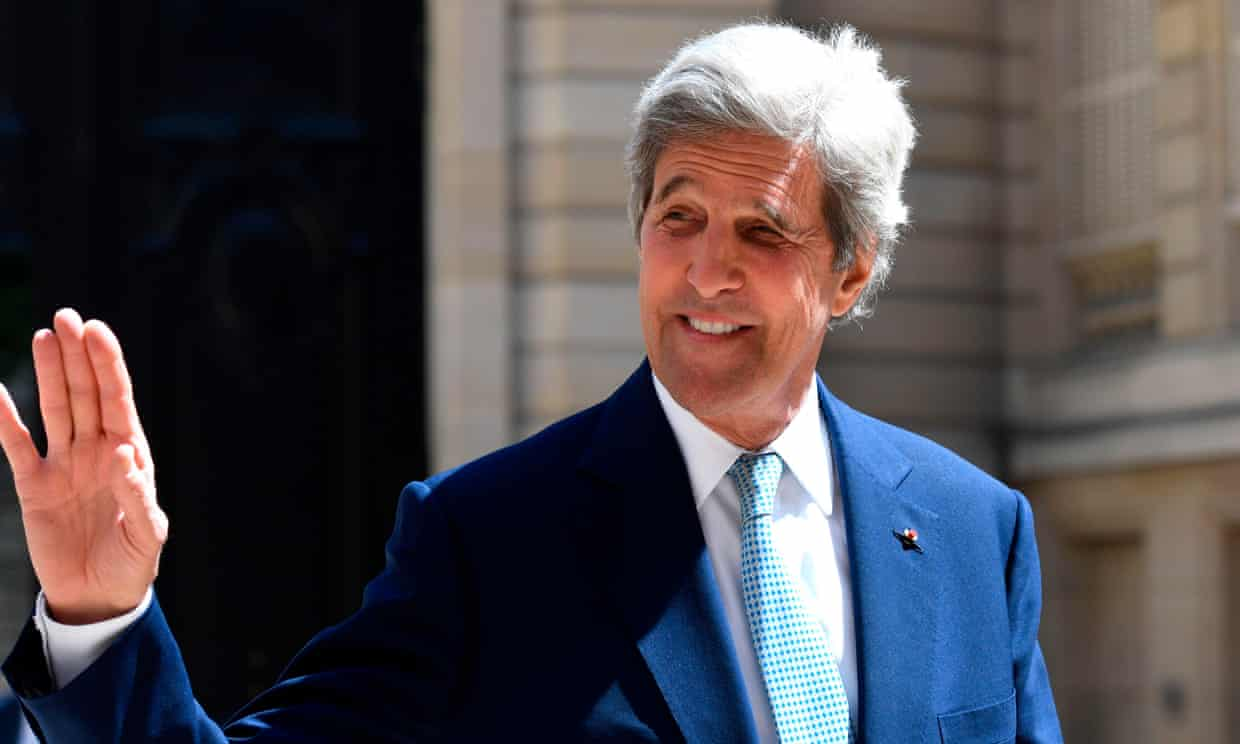 John Kerry played a prominent role in crafting the Paris climate accord, which Joe Biden has promised to re-enter. Photograph: Bertrand Guay/AFP via Getty Images