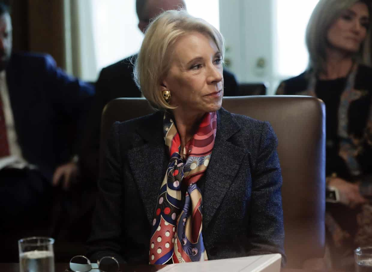 'The US secretary of education, Betsy DeVos, continues to refuse debt forgiveness for thousands of students ripped off by predatory for-profit colleges.' Photograph: Pablo Martínez Monsiváis/Associated Press
