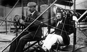 Gabriele D'Annunzio on a plane with Glenn Curtiss in 1909