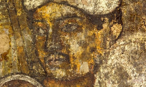 Detail from one of the murals in cave 10 of the Ajanta caves.