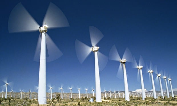 Wind turbines in motion  in Windfarm in  California