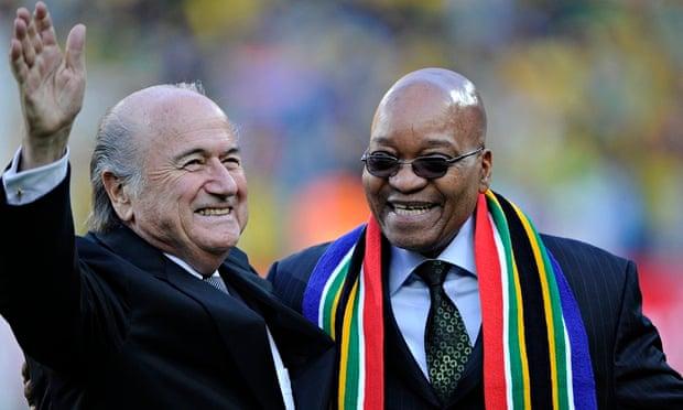 Sepp Blatter, seen with South African president Jacob Zuma