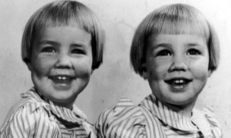 Margot Lawrence's identical twin sisters, Jenny and Gill. Gill claims Jenny kicked her on the way out of the womb. Public Domain - Margot-Lawrence-s-twin-si-008
