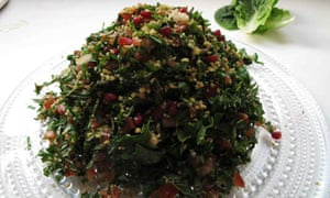 Felicity Cloake's perfect tabbouleh piled on a plate