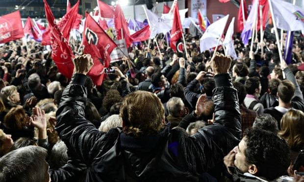 Supporters cheer Alexis Tsipras on 22 January 2015