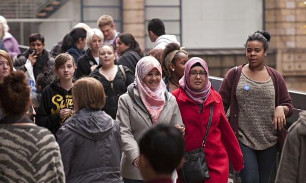 Multiracial street scene Birmingham