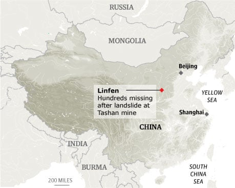 Linfen China  city photos : Dozens dead in China mudslide   World news   The Guardian