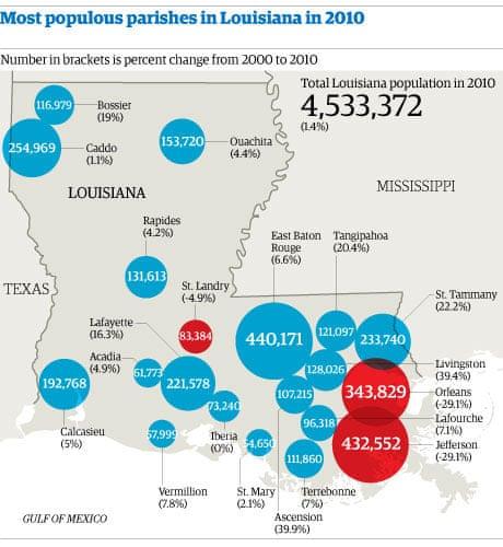 Map Louisiana populati...
