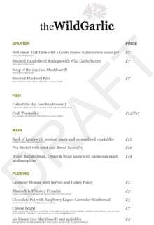 The draft menu for Mat Follas's Wild Garlic restaurant. Click through ...