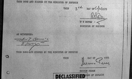 The secret military agreement signed by Shimon Peres and P W Botha