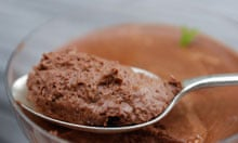 Chocolate mousse made according to Julia Child's recipe. Photograph ...
