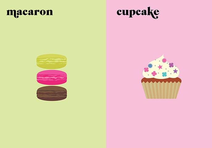 Paris V. New York: macaron / cupcake