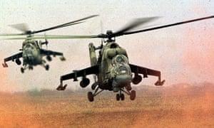 Russian Mi-24 helicopter gunships