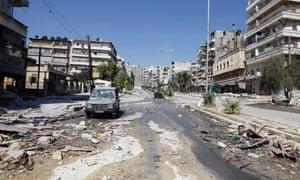 8月8日叙利亚自由军战士与叙利亚军队士兵发生冲突后,Salahedin街区的一条街道。照片:路透社/ Goran Tomasevic
