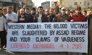 2013年1月4日,来自Kafranbel的叙利亚抗议横幅