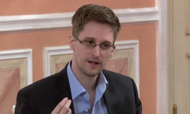 Edward Snowden speaks during a presentation ceremony for the Sam Adams Award in Moscow, Russia.