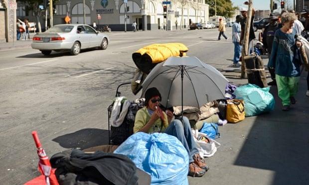 Homeless people on Skid Row in Los Angeles, California.