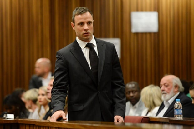 Oscar Pistorius arrives in court this morning.