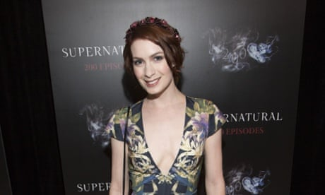 "Felicia Day attends the celebration for the 200th episode of ""Supernatural"", in which she plays hacker Charlie Bradbury."