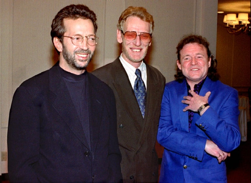 Eric Clapton, Ginger Baker and Jack Bruce, members of the former band Cream are inducted into the Rock and Roll Hall of Fame in Los Angeles, 12 January 12 1993