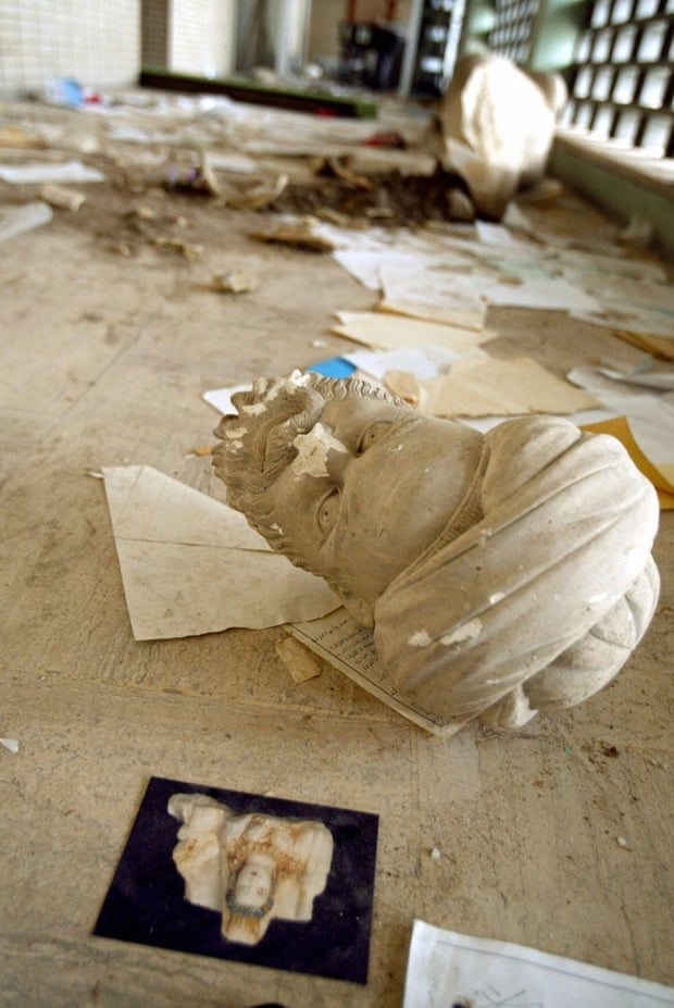 A beheaded looted sculpture in Iraq's archeological museum in Baghdad.