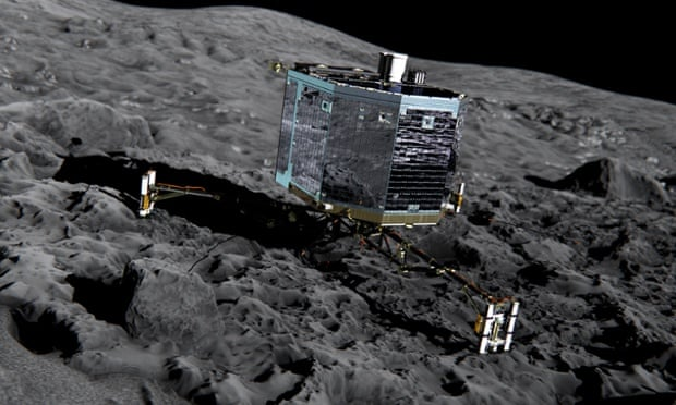 Artist's impression of Rosetta's lander Philae on the surface of comet 67P/Churyumov-Gerasimenko. Follow the deployment and landing attempt on this liveblog.