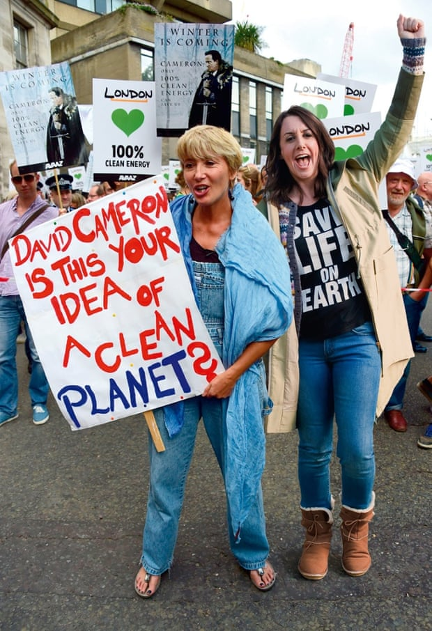Lucy Siegle marches with Emma Thompsonm at the 2014 People's Climate march.