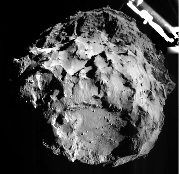 This picture released by the European Space Agency ESA was taken by the ROLIS instrument on Rosetta's Philae lander during its descent from a distance of approximately 3 km from  2.5-mile-wide 67P/Churyumov-Gerasimenko comet.