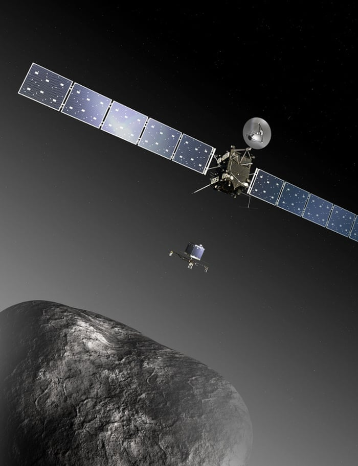 Rosetta and Philae at comet Artist   s impression of the Rosetta orbiter deploying the Philae lander to comet 67P/Churyumov   Gerasimenko. The image is not to scale; the Rosetta spacecraft measures 32 m across including the solar arrays, while the comet nucleus is thought to be about 4 km wide