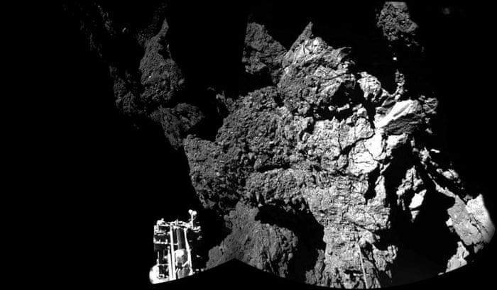 Rosetta's lander Philae is safely on the surface of Comet 67P/Churyumov-Gerasimenko, as these first two CIVA images confirm. One of the lander's three feet can be seen in the foreground. The full panoramic from CIVA will be delivered in this afternoon's press briefing at 13:00 GMT/14:00 CET.