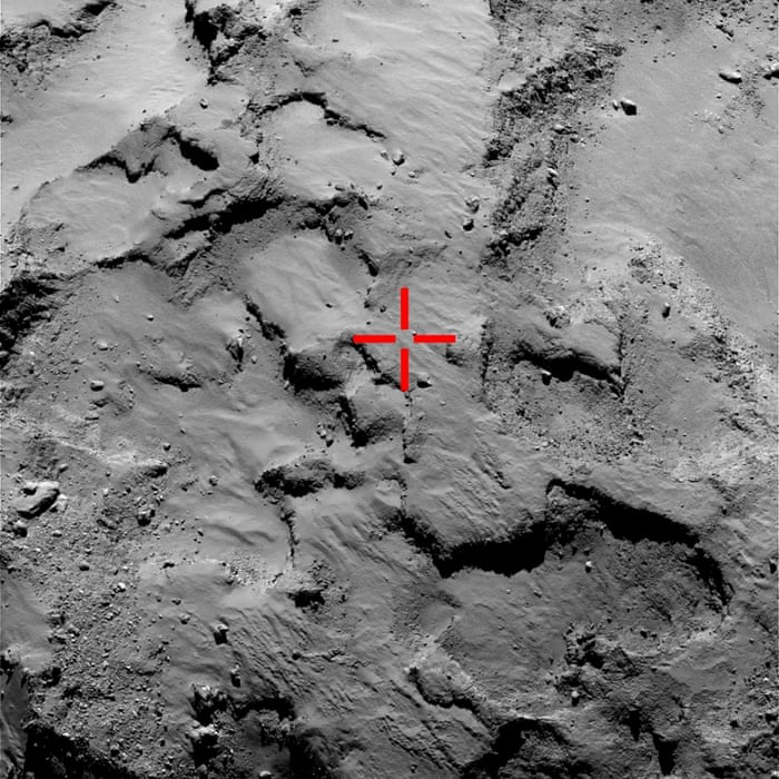 This image shows an OSIRIS narrow-angle image taken from a distance of 30 km on 14 September 2014 (prior to landing) marks the first touchdown point of the Philae lander.The signal confirming landing arrived on Earth at 16:03 GMT (17:03 CET). It is thought that Philae bounced twice before settling on the surface of Comet 67P/Churyumov-Gerasimenko.The lander has not yet been identified and images are still to be downloaded from the Rosetta spacecraft for further analysis.