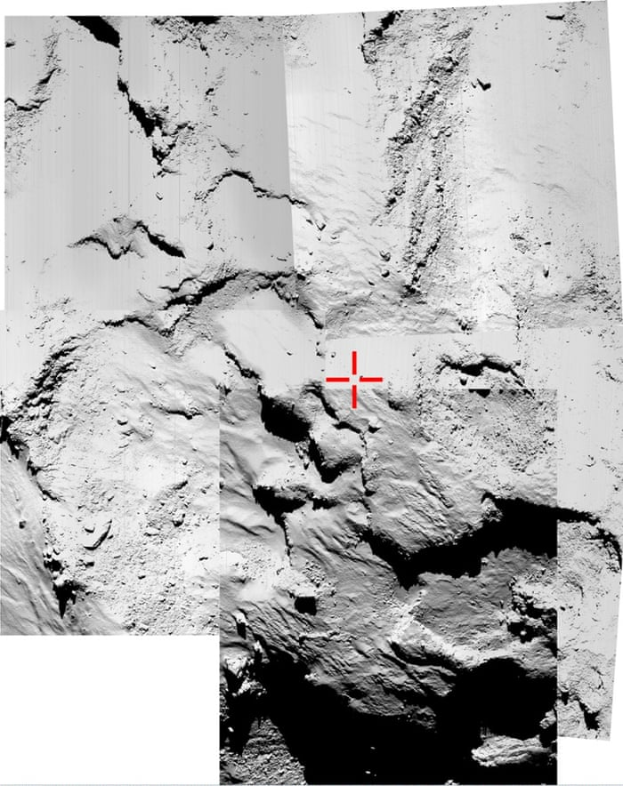 This five-image montage of narrow-angle images taken by the OSIRIS camera is being used to try to identify the final touchdown location of Philae. The images were taken around the time of landing on Wednesday when Rosetta was about 16 kilometres from the surface of Comet 67P/Churyumov-Gerasimenko.