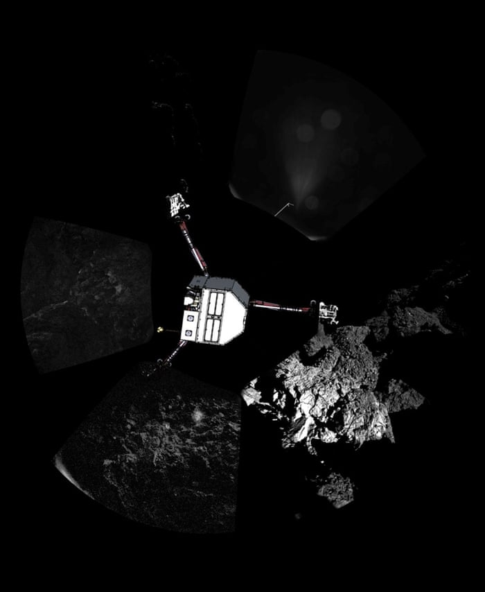 Comet panoramic     lander orientation Rosetta   s lander Philae has returned the first panoramic image from the surface of a comet. The view, captured by the CIVA-P imaging system, shows a 360   view around the point of final touchdown. Superimposed on top of the image is a sketch of the Philae lander in the configuration the lander team currently believe it is in. Confirmation of Philae   s touchdown on the surface of Comet 67P/Churyumov   Gerasimenko arrived on Earth at 16:03 GMT/17:03 CET on 12 November. Credit: ESA/Rosetta/Philae/CIVAfromme
