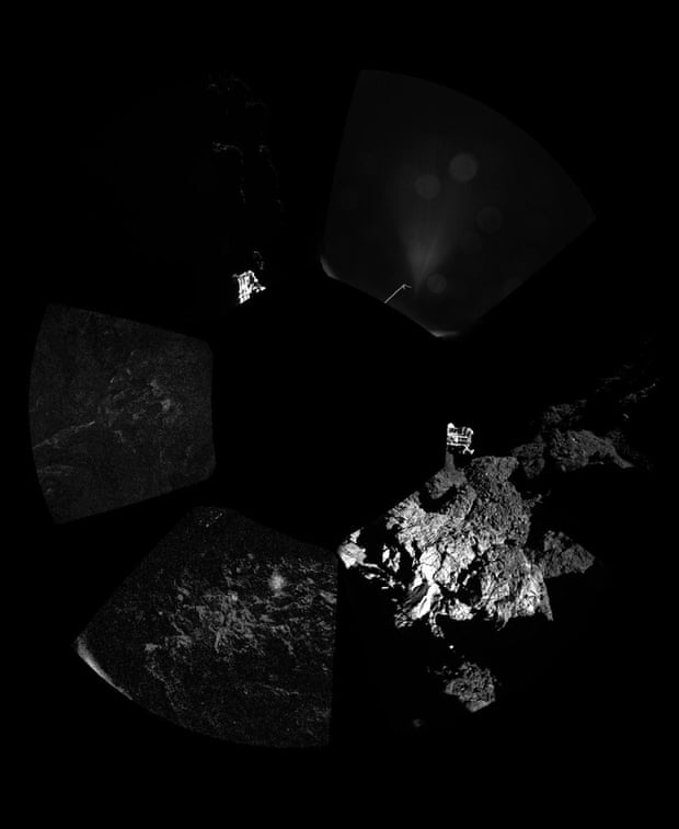 Panoramic view around the point of Philae's final touchdown on the surface of comet 67P, taken when Rosetta was about 18km from centre of comet. Parts of Philae's landing gear can be seen in this picture.