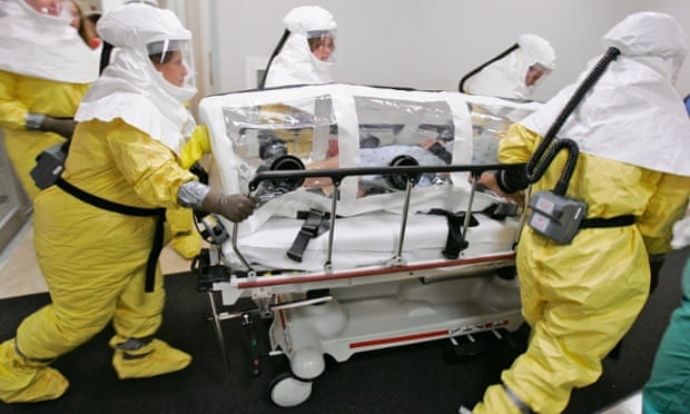 A biocontainment drill at the Nebraska Medical Centre where the latest US medical worker to contract Ebola is expected to be treated.