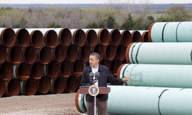 President Barack Obama speaks at the TransCanada Pipe Yard in Cushing, Oklahoma in March 2012.