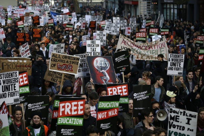 Thousands of people holding placards took part in the protest. University tuition fees nearly trebled four years ago, a move that sparked violent student protests at the time.